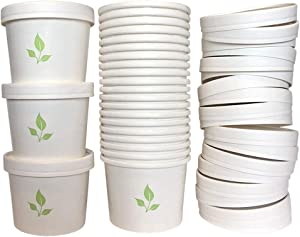 Greenvali Disposable Soup Bowls with Lids [12oz-50 Pack] Paper Containers for Hot or Cold Foods - TakeOut, ToGo, Meal Prep Cups for Ice Cream, Yogurt, Oatmeal, Chili - Storage and Serving