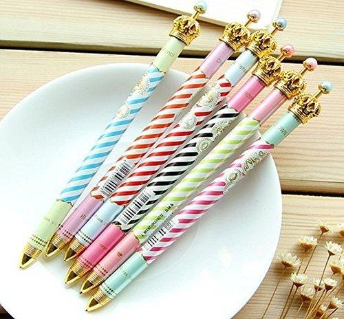 ONOR-Tech Set of 6 Lovely Cute Crown Design Ballpoint Pen Ball Pen for School, Office, Family use