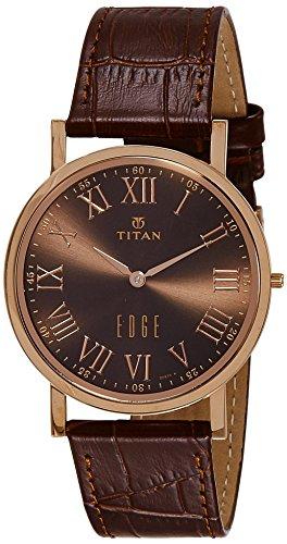 - Titan Men's Edge Stainless Steel Quartz Watch with Leather Calfskin Strap, Brown, 20 (Model: 1595WL03)