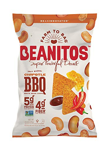 - Beanitos White Bean Honey Chipotle BBQ, The Healthy, High Protein, Gluten free, and Low Carb Vegan Tortilla Chip Snack, 4.5 Ounce A Lean Bean Protein Machine for Superfood Snacking At Its Best