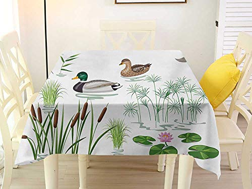 L'sWOW Fringed Square Tablecloth Rubber Duck Lake Animals and Plants with Lily Flowers Reeds Cane in The Pond Nature Park White Green Chairs 54 x 54 Inch