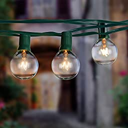 Globe String Lights with 25 G40 Bulbs, TaoTronics Connectable Outdoor Garden Party Bistro Market Cafe Hanging Umbrella Lamp Backyard Patio Lights 100% Free Bulb Replacements