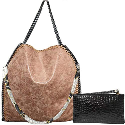 (Donalworld Women Chain Paillette Casual Tote PU Leather Shoulder Bag Purse L Apricot)