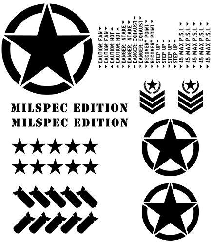 Auto Vynamics - THEME-ME-MBLA - Matte Black Vinyl (Military) MILSPEC Edition Theme Package - Complete (30) Piece Kit - Jeep & Toyota Wrangler YJ / TJ / LJ / JK / JKU, Cherokee XJ, Grand Cherokee ZJ / WJ / WK / WK2, FJ Cruiser