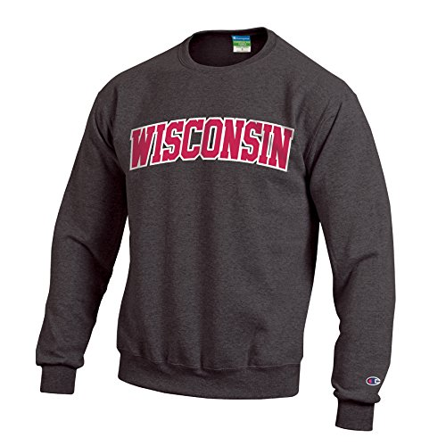 Champion NCAA Wisconsin Badgers Men's Eco Powerblend Crew Neck Sweat Shirt, Small, Granite ()