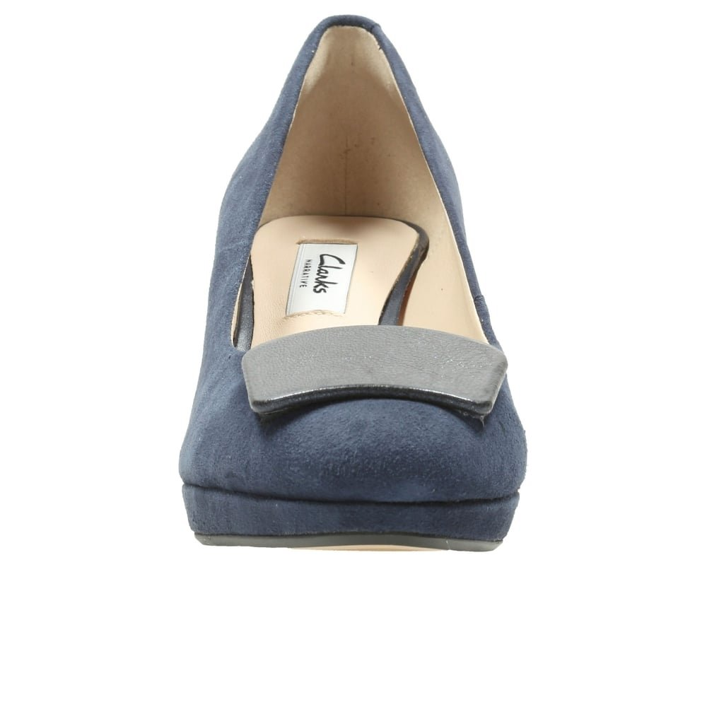 Clarks Soirée Femme Chaussures Kelda Gem en Daim Bleu Taille