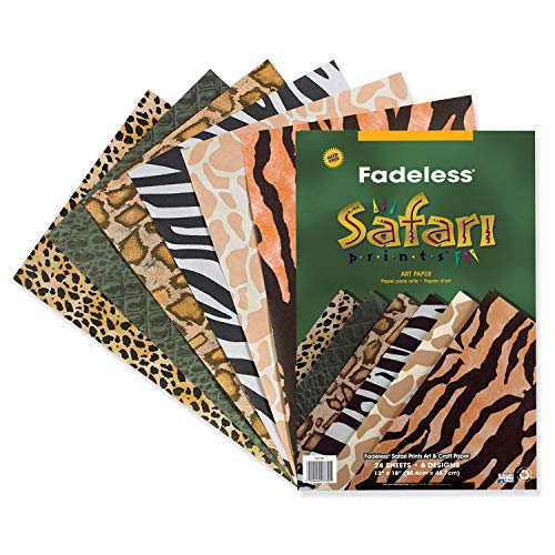 - Fadeless  Safari Prints Paper, 6 Assorted Patterns,  12
