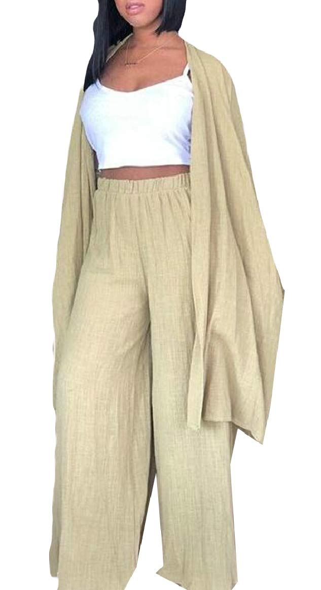 pujingge-CA Women Linen Long Sleeve Cardigan and Wide Leg Pants Outfits 2 Pieces