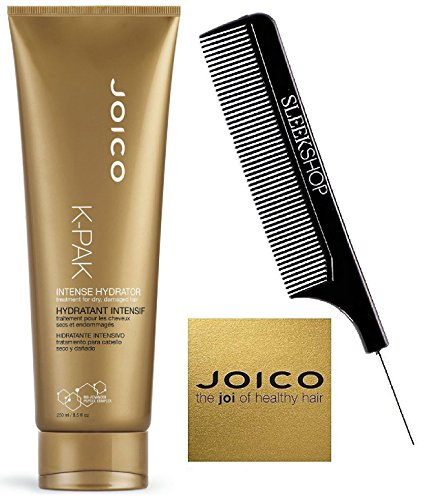 Joico K-PAK INTENSE HYDRATOR Treatment for Dry, Damaged Hair (with Sleek Steel Pin Tail Comb) Bio-Advanced Peptide Complex (8.5 oz / 250 ml)