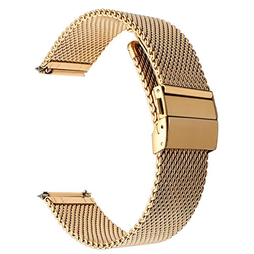 Gold Buckle Mesh (for Fossil Gen 4 Q Venture HR Bands, TRUMiRR 18mm Milanese Watchband Stainless Steel Button Buckle Strap Quick Release Bracelet for Fossil Gen 4 Q Venture HR/Gen 3 Q Venture, Huawei Watch/Fit)
