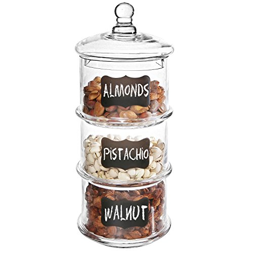 Glass Lidded Apothecary Jar (16 inch Lidded 3 Tier Stackable Clear Glass Candy Dishes / Cookie Apothecary Jars w/ Chalkboard Labels)