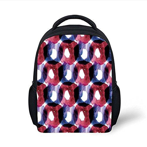 iPrint Kids School Backpack Abstract,Disc Shaped Circular Inner Ovals in Watercolor Artwork,Dark Coral Purple Plain Bookbag Travel ()