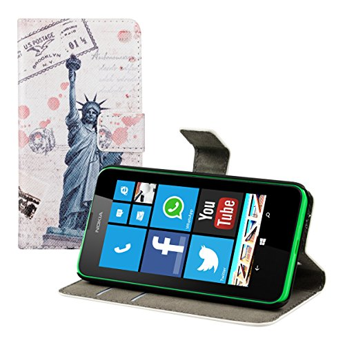 kwmobile® Chic leather case for the Nokia Lumia 630 with convenient stand function - City design (New York) in Desired colour