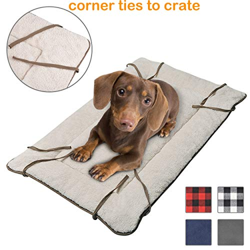 (Dog Crate Liner with Ties,Washable Fluffy Pet Sleeping Mat,Soft Plush Pet Sofa Kennel Cushion Mat for Small Medium Large Dogs Puppy Cats)