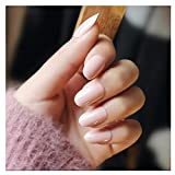 Dongcrystal 24PCS False Nail Chic Smooth Nude Pink Bridal Fake Nail Full Coverage Nail Tips Pre-designed Nail with Adhesive Tab for women and girls