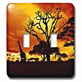 3dRose lsp_173293_2 African Giraffe on African Plains At Sunset, Animal Safari Africa Light Switch Cover