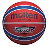 Molten Premium 12 Panel Design Rubber Basketball, Red/Blue, Size 7