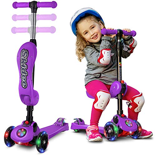 Scooter For Kids with Folding Seat – 2-in-1 Adjustable 3 Wheel Kick Scooter for Toddlers Girls & Boys – Fun Outdoor Toys for Kids Fitness, Outside Games, Kid Activities – Boy & Girl Toys (Purple)