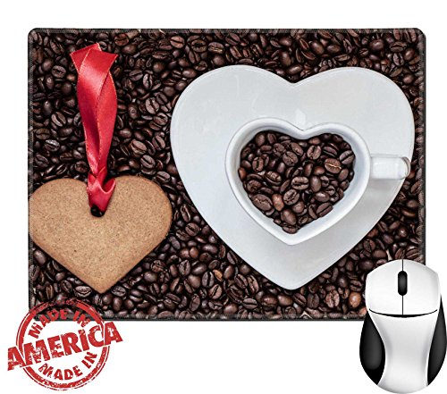 """Luxlady Natural Rubber Mouse Pad/Mat with Stitched Edges 9.8"""" x 7.9"""" Coffee time concept Heart shaped cup plate and cookie gingerbread on coffee IMAGE 36721654 (Day Dessert Ideas Xmas)"""