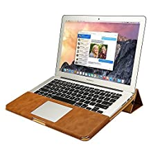 Jisoncase MacBook Air 13-inch Case Cover Handmade Protective Book Folio PU Leather Sleeve Pouch Shell for Apple MacBook Air 13.3'' with Stand Function in Vintage Brown JS-AIR-06R20