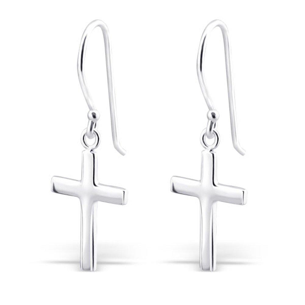 Sterling Silver Cross Silver Earrings, Dangle Earrings Sterling Silver 925 (E2881)