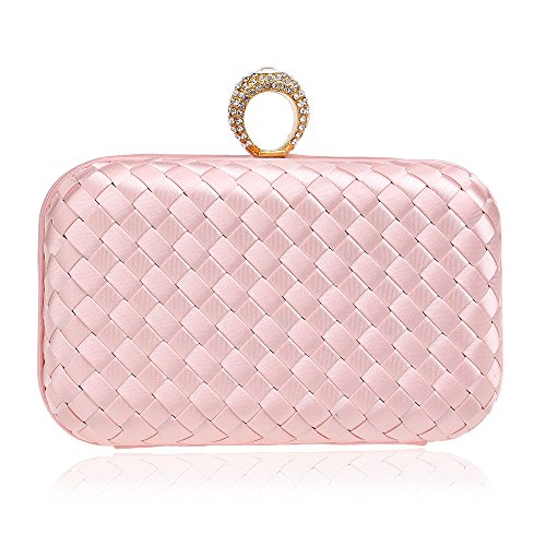 Dress Pouch Temperament GROSSARTIG Bag Bag Clutch Weaving Bride Pink Lady Cheongsam wqqtI4