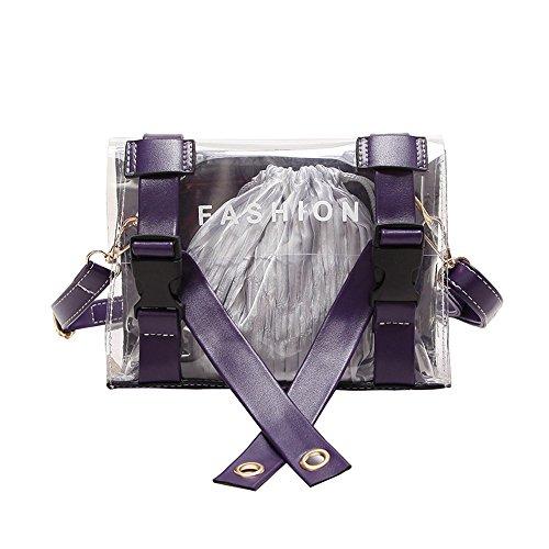 Bandolera Bolso Transparente Cuero Violet De Nuevo Playa Doble Bolsa Gules Bolsos Meaeo De Moda Verano AZwHwx