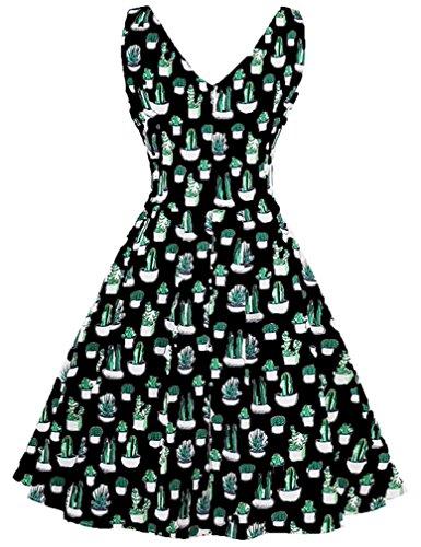 Swing Christmas Women's Black Green Neck Sleeveless Cocktail V Killreal Vintage Dress 0Yq1Y
