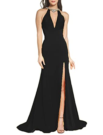 Z Sexy Halter Side Slit Mermaid Prom Dresses Rhinestones Beaded Formal Evening Party Dresses
