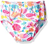 Swim Time Baby Girls' Girlmulti Fish Reusable Swim Diaper With Side Snaps, White, 6-12M