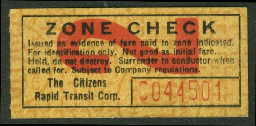 citizens-rapid-transit-corporation-zone-check-ticket-newport-news-va-undated