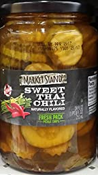 Market Stand Sweet Thai Chili Hot Pickle Chips 24 oz Jar