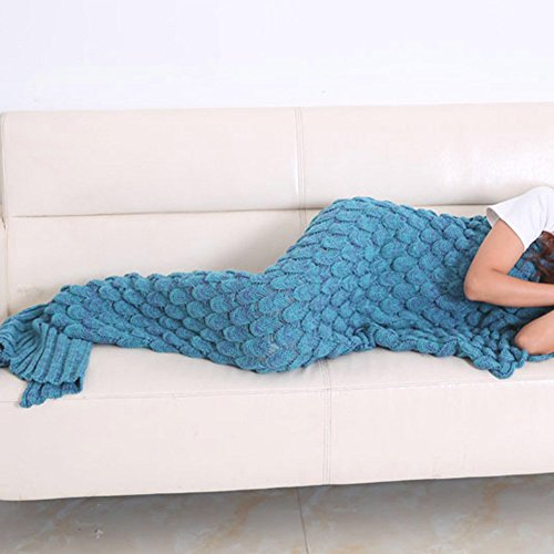 Good.Store Soft Warm Mermaid Tail Blankets, Knitted Crochet Sleeping Bag in Sofa Bed Living Room or Camping,Size 75 by 35.5 inch (Lake Blue )