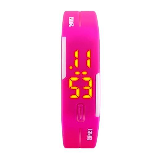 Reloj de pulsera,Jalea reloj digital Llevó reloj de pulsera Gomita Luminoso Tiempo de la demostración Estudiante infantil Parejas-A: Amazon.es: Relojes