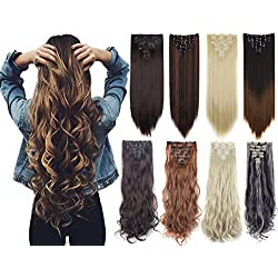 7Pcs 16 Clips 23-24 inch Thick Curly Straight Full Head Clip in on Double Weft Hair Extensions-Natural Black-Curly