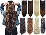 #4: 7Pcs 16 Clips 23-24 Inch Thick Curly Straight Full Head Clip In On Double Weft Hair Extensions