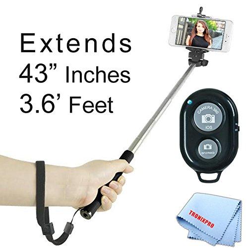 "Extendable 43"" inches Self-Portrait Handheld Selfie Monopod, Black, + Bluetooth Wireless Remote Control Camera Shutter for Sony Xperia Z3 , Xperia Z3 compact, Xperia Z2, Xperia Z2 compact, Xperia Z Ultra, Xperia Z1, Xperia Z1 compact, Xperia Z, Xperia ZL, Xperia TL, Xperia U, Xperia S & other smartphones"