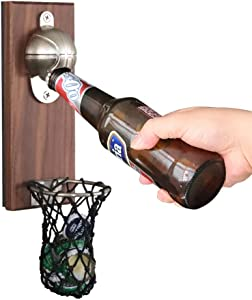 YicUik Bottle Opener, Vintage Wooden Wall Mounted Basketball Beer Opener with Cap Catcher, gift for Beer Lovers, Father, Friends