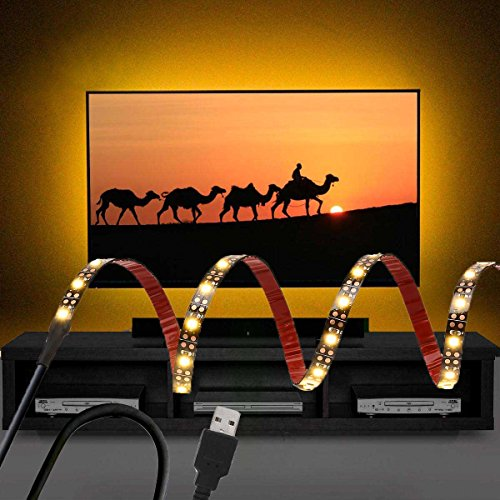 LED Strip Light TV Backlight 5V USB Power Hight Brightness White Color Strip with Strong Adhesive Tape (39INCH, Warm White)