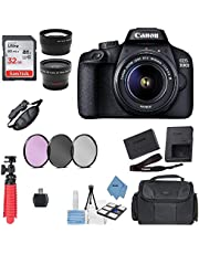 Canon EOS 3000D/Rebel T100/ EOS 4000D Kit with EF-S 18-55mm f/3.5-5.6 III Lens + Accessory Bundle + Model Electronics Cloth
