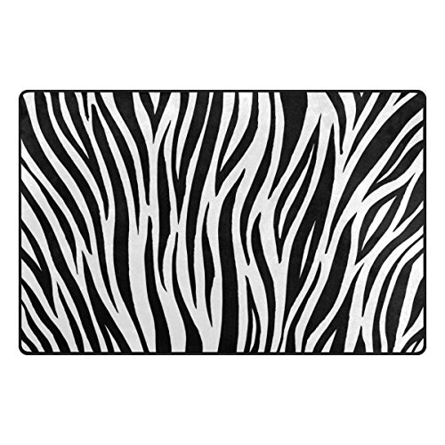 Cooper girl Zebra Print Stripe Home Area Rug 31x20 Inches Indoor Outdoor Carpet (Stripes Kids Rug)