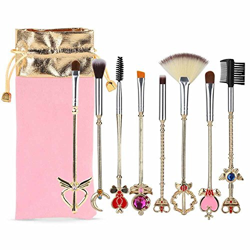Coshine 8pcs Sailor Moon Makeup Brush Set With Pouch, Magical Girl Gold Cardcaptor Sakura Cosmetic Brushes With Cute Pink Bag (Sailor Moon Material)