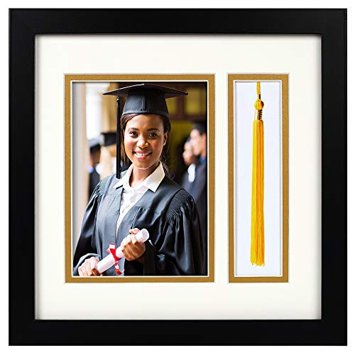 10x10 Black Shadow Box Frame - 5x7 Photo - Tassel - Double Mat (Ivory Over Gold) - Square - Sawtooth Hanger - Wall Mount - Real Glass - Graduation - 7x7 Frame Box Shadow
