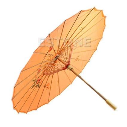 LANMIU Paraguas japonés Chino Art Deco Parasol sombrilla-Naranja