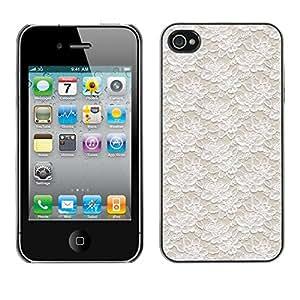 TopCaseStore / la caja del caucho duro de la cubierta de protección de la piel - Vintage Vignette Wallpaper Beige - Apple iPhone 4 / 4S