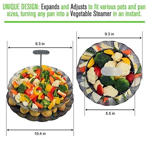 UNIQUE Basket - EXTENDABLE HANDLE - Fits Pressure Cooker & 8 Quart - 100% Stainless Steel BONUS + Instapot Rack