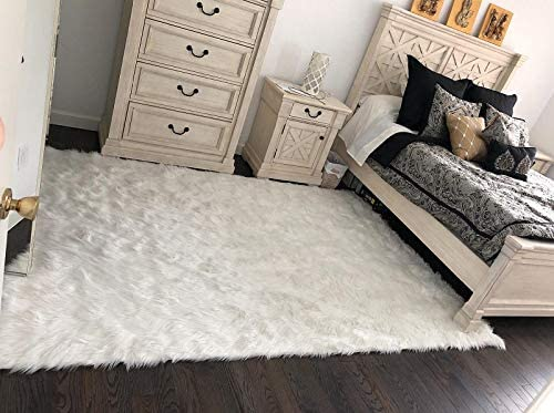 5×7 Feet White Color Faux Imitation Quality Sheepskin Sheep Skin Sheep Hide Animal Skin Fur Furry Area Rug Carpet Rug Solid Plush Decorative Designer Contemporary Modern Bedroom Living Room