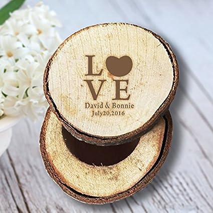 Personalizado novia y novio nombre FECHA de boda amor anillos de boda caja madera rústica para