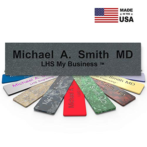 Engraved Nickel Plate - LHS My Business | Engraved Desk Name Plate Personalized Textured Nickel Plastic Office Sign Black Letters | USA Desk Decor 2x8 - M4