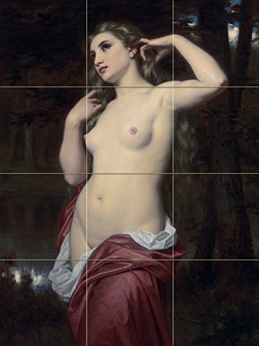 THE BATHER by Hugues Merle nude girl woman lake river trees water Tile Mural Kitchen Bathroom Wall Backsplash Behind Stove Range Sink Splashback 3x4 4'' Marble, Matte by FlekmanArt